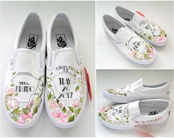 Painted Wedding VANS, Wedding Bouquet Vans, Bride's Shoes, Wedding Shoes, Hand Painted Vans Bridal Shoes, Floral Wedding Shoes, Custom Shoes