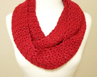 Crochet Infinity Scarf in Sparkly Red