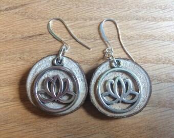 Wooden lotus flower earrings