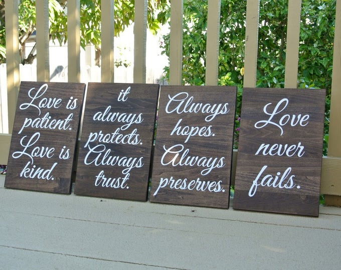 Wedding aisle signs, Rustic Wooden Decor Wedding Ceremony, Love is Patient Love is Kind, Christian Wedding gift.