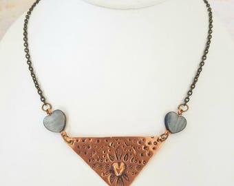 Triangle Mandala Copper Necklace, Heart Mandala, Sacred Heart, Mother of Pearl Shell, Bohemian Boho Jewelry, Funky One of a Kind, Nepantla