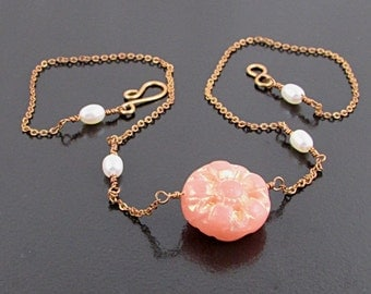 Peach Pink Bridesmaid Necklace with Freshwater Pearls, Cottage Chic Wedding Jewelry