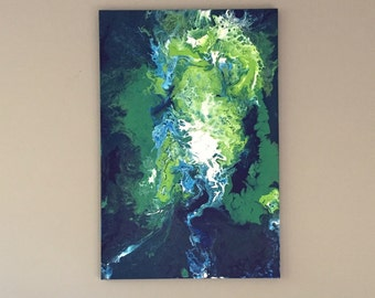River Dragon - Fluid Acrylic Painting on Cotton Canvas