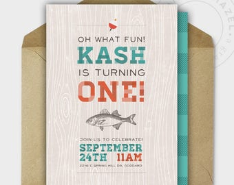 First Birthday Party Invitation - FISHING - The Big ONE - Fun - Printable - Personalized - 5x7