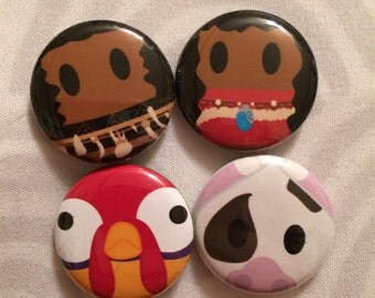Moana, Maui, Pua and Hei Hei inspired 1 inch pins! Perfect for park bags, lanyards, and jackets!