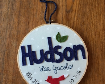 "8"" UNISEX BIRTH STATS with Name- Personalized Name Embroidery including birth statistics by Miss Tweedle"
