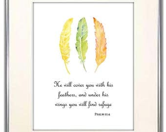 Nursery Scripture Quote. Bible Verse. Psalm 91:4 He Will Cover You With His Feathers Under His Wings You Will Find Refuge. Christening Gift