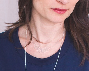 Necklace silver geometry matte, fine silver chain, laser, silver plating cut high quality