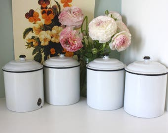 white kitchen canisters fabulous antique set of six and blue enamel 15439