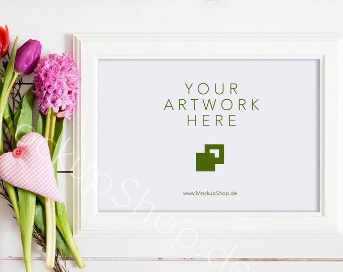 """SPRING FRAME MOCKUP 5x7"""" / 10x14"""" / spring flowers / valentines day / white empty frame mockup / flower frame mockup / landscape frame"""
