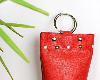 Little Red Bag/Ring Handle Bag/Red Wristlet Bag/Red Evening Bag/Small Red Leather Bag/Mini Red Bucket Handbag – MiniSophiaEL1