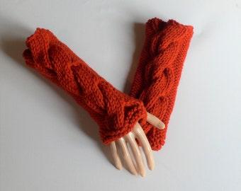 Fingerless Gloves, Steampunk Gloves, Goth Gloves, Wrist  Warmers, Hand Warmers, Orange Gloves, Knit Gloves, Steampunk Clothing, Boho Gloves