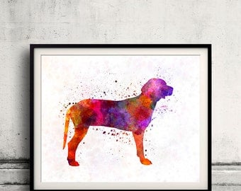 Serbian Hound in watercolor 01 - Fine Art Print Poster Decor Home Watercolor Illustration Dog - SKU 2532