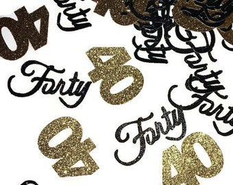 40th birthday party decorations, fortieth anniversary, 40 confetti, forty, 50CT,  glitter, supplies, black and gold