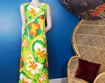 Vintage Mod Hawaiian Maxi Dress | Empire Waist | Made by Eleu | Size Small