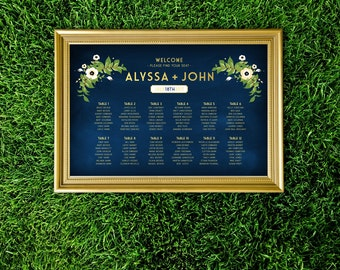 The ALYSSA . Seating Chart Wedding Large Printed Sign . Anemone Magnolia Eucalyptus Sage Garland Green Olive Branch Gold & Navy Chalkboard