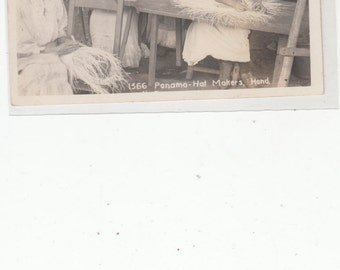 RPPC Real Photographic Vintage Postcard,Panama Hat Makers,Very Good