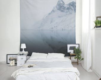 Iceland Tapestry, Landscape Wall Art, Winter Tapestries, Minimalist Decor, Home Decoration, Room Decor, Mountain Tapestry, Water Reflection