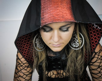 Red and Black Genuine Leather and Geometric Felt Embossed Vinyl Shrug and Detachable Hood