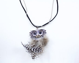 Vintage Owl Pendant Necklace Silver Tone Chain Black Rope Crystal Onyx Eyes Feathers