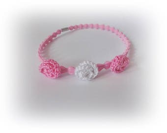 Headband pink flower elastic band Crochet Baby Headband Newborn Headband Baby Girl Headband  Crochet Flower Headband baby girl