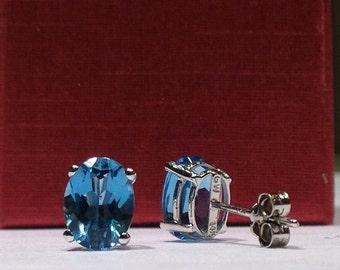 2.00 Carat Genuine Natural Oval Shape Blue Topaz Earrings in 14K Gold WATCH VIDEO
