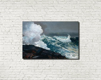 Winslow Homer, American Fine Art Print :  Northeaster, Seascape Storm painting