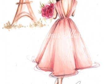 Paris art, fashion illustration, Fashion sketch, Paris print, Eiffel-Tower print, Eiffel-Tower art, Fashion art, Fashion wall art, Paris