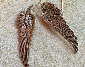 Angel Wing Earrings, Metal Wing Angel Earrings, Earrings, Jewelry