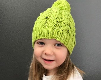 Cable hat with pom pom, baby boy girl knit hat, hand knitted cable hat baby, newborn to adult sizes, gray cotton beanie, made to order