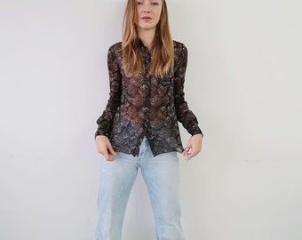 SALE! Sheer Black Floral Patterned Blouse/Button Up Shirt