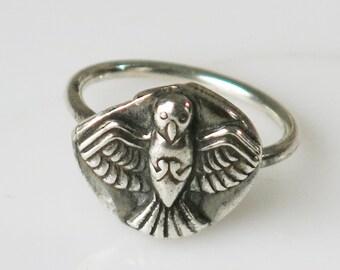 Fine Silver Bird Wings Spirit Ring, Symbol of Freedom Ring, Symbol of Wings Ring, Fine Silver Symbol of Flight Bird Ring, Silver Ring Gift