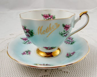 Queen Anne Tea Cup and Saucer Blue with Pink Flowers for Mother, Gift for Mom, Vintage Bone China