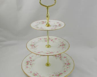 "Paragon Three Tier Cake Stand ""Victoriana Rose"", Vintage Bone China, Paragon Cakestand, Pink Roses"