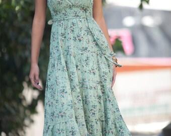 Green Bridesmaid Maxi Dress, Bohemian Hippie Dress, Urban Romantic Summer Dress, Day to Evening Carrie dress, Boho Rustic Summer dress