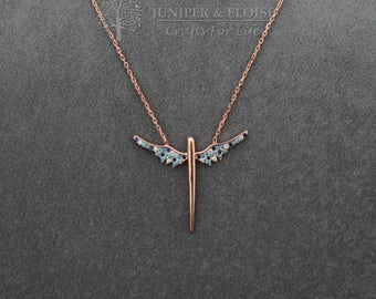 Womens Necklace, Wings Necklace, Rose gold 925 Silver Necklace, Gift For Her,  Minimal monile, colar, Halskette