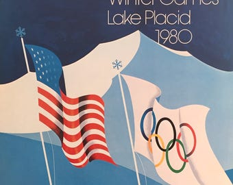 1980s Olympics Poster, Original Vintage Lake Placid Olympics Print, Olympic Rings Sports Decor