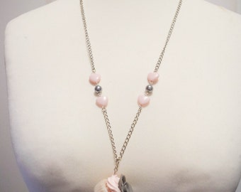 "Necklace ""Cupcake flower"" translucent white base"
