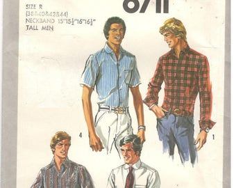 """Simplicity 8711 Size 15, 15.5, 16, 16.5 (38, 40, 42, 44 chest)  Mens TALL Classic Shirt, long / short sleeve sewing pattern.  5'11"""" - 6'3"""""""