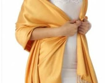 mustard yellow pashmina scarf - mustard yellow wedding scarves - yellow bridesmaid gift - yellow bridal shower favors - mustard wedding