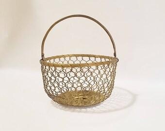 Brass Basket, Brass Woven Baket, Brass with Handle, Brass Decorative Basket