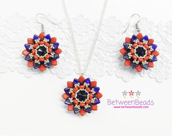 Flower Earrings Necklace, Flowers Jewelry Set, Navy Blue Red Earrings, Silver Plated Necklace, Crystal Earrings, Drop Flower Earrings
