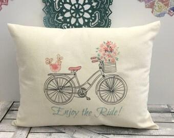Spring Bicycle Pillow, Spring Pillow,Bike Pillow,Spring Decor,Spring Pillow,Spring Decoration, Canvas Pillow, Rustic Spring Decor