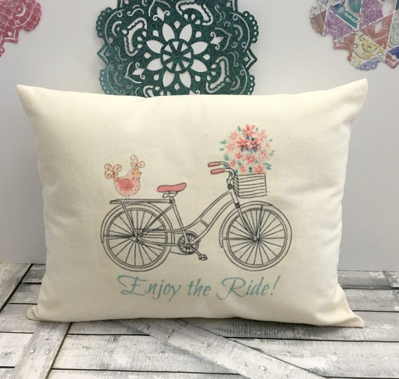 Spring Bicycle Pillow, Spring Pillow,Bike Pillow,Spring Decor,Spring Pillow,Spring Decoration, Canvas Pillow, Rustic Spring Decor