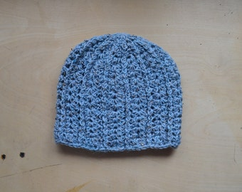 Blue Tweed Slouchy Hat - Ready to Ship