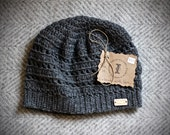 Charcoal Grey Hand-crocheted Beanie | Ladies Size Medium | Cozy Soft Ribbed Winter Hat | One-Size-Fits-Most