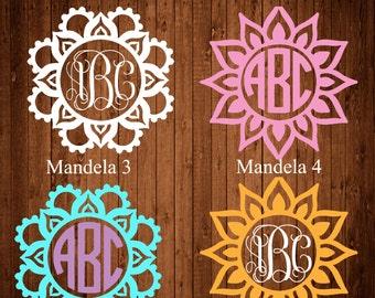 Mandala Decal, Mandala Monogram Decal, Yeti Decal, Mandala Monogram, Monogram Decal, Monogrammed Yeti Tumbler,Decal, Laptop decal, Car decal