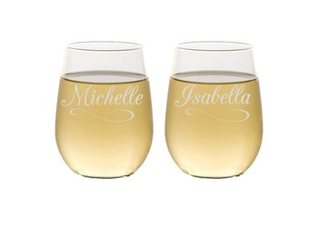 2 Stemless Wine Glasses, Personalized Maid of Honor Gifts, Custom Engraved Glassware, Bridesmaids Gifts, Stemless Wine Glass, Set of 2