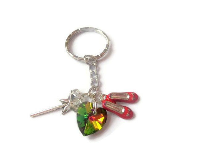 WIZARD OF OZ Dorothy inspired rainbow faceted crystal heart wand & red shoes silver alloy Keyring fan gift jewellery Uk