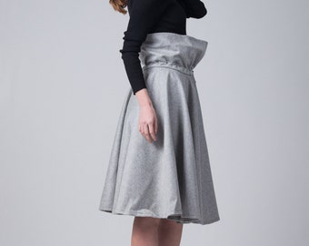 Fasada 16143 gray wool skirt / High waist full circle skirt / Woman's knee skirt /
